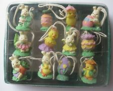 12 Vintage Easter Bunny Dressed Rabbits Chicks Eggs Miniature Ornaments Resin