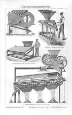 Getreidereinigungsmaschinen Trieur Windfege Cribleur   Holzstich 1905 Getreide
