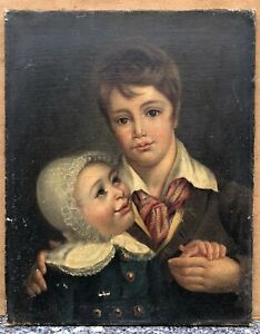 Tableau Ancien Huile Portrait Enfant Jeune Garçon Petite Fille Début XIXe Empire