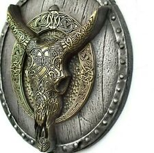 Longhorn Carved Skull on the Viking Shield Wall Mount Iron Brass Rustic Decor