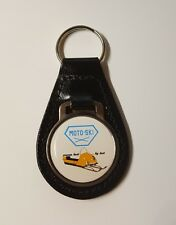 Reproduction Vintage Moto-Ski Snowmobile Medallion Style Leather Keychain