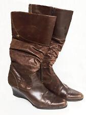 Tamaris Damen Stiefel mit hoher Schaft, braun, Leder, Gr 40