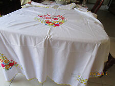 LOVELY VERY LARGE EMBROIDERED TABLECLOTH WITH YELLOW STITICHING ON EDGES