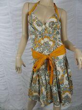 VERO MODA orange retro 1905s look floral print halter neck A-line dress 6 EUC