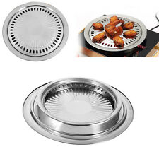 Non-stick Smokeless Stovetop Barbecue BBQ Kitchen Griddle Baking Plate Pan hg
