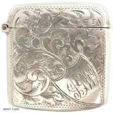 Antique Victorian c1897 Sterling Silver Pocket Vesta Match Safe, Birmingham