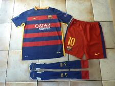 Authentic Nike BARCELONA Messi Full Football Kit Shirt Shorts 13-15 Yrs FCB