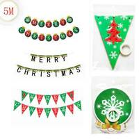 5M Merry Christmas Hanging Bunting Banner Flags Garland  Party Decoration HOT