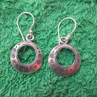 Hill Tribe Earrings Pure Silver Handcrafted Artisan Round Hoops engraved er054