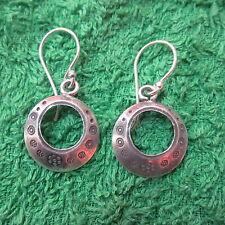 Fine Silver Earrings Sterling 925 Artisan Round Hoops Art Deco engraved er054
