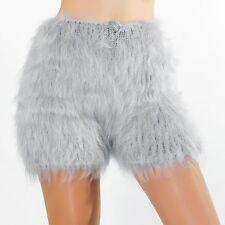 SUPERTANYA LIGHT GRAY Hand Knitted Mohair Pants Fuzzy Underwear Handknit Shorts