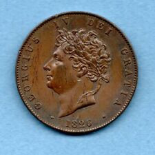 More details for 1826 copper halfpenny coin of king george iv. high grade.