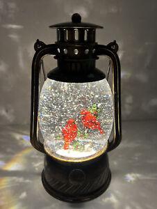 "8.5"" Christmas Snow Globe Water SWIRLING Red Cardinal Birds Bronze Color Lantern"