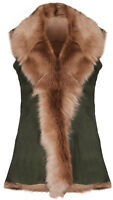 Olive Ladies Women's Soft Real Toscana Sheepskin Leather Gilet Waistcoat