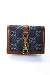 Gucci 2020 Jackie 1961 Card Case Compact Wallet GG Denim Leather Blue