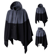 Para hombre con capucha Poncho capa capa chal Prendas de abrigo Chaqueta de Abrigo de Moda Punk camisas