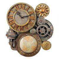 """Steampunk Design Sculptural Mechanical 17.5""""H Wall Clock Sculpture"""