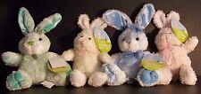 4 Easter Bunny Bunnies Light Pink Cream Mint Green Baby Blue Bow  Tags Bear