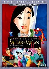 Disney Heroine Mulan and Mulan II DVD & Blu-ray Packaging 2 Movie Double Feature
