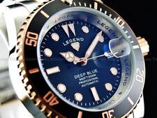 Legend Mens Submariner Deep Blue Diver Auto Sapphitek BLK Dial 18KRG IP SS Watch