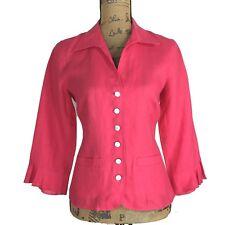 NEW Talbots 6 Med Irish Linen Blazer Shirt Raspberry Pink Ruffle 3/4 Sl Pocket