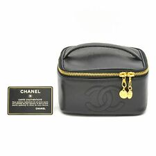 Authentic Chanel CC Caviar Skin Leather Cosmetic Pouch Case Vanity Bag Black