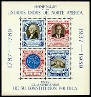Guatemala C92 mint NH souvenir sheet from 1938 honoring US Constitution SCV $8++