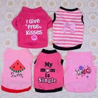 5PCS Pet Dog Shirt Vest Lot Cotton Puppy Cat Clothing Pink Dress Girl XS S M L