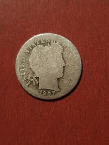 1907 Barber SILVER One Dime USA