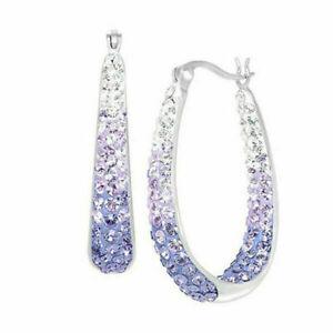 Fashion 925 Silver Hoop Earrings Women Cubic Zirconia Wedding Jewelry A Pair/Set