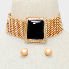 "14"" gold black cabochon mesh bib collar choker necklace .60"" earrings 2"" wide"