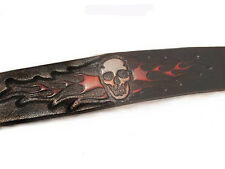 NEW BIKER THICK FLAMING SKULL EMBOSSED LEATHER SNAP CLOSURE WRIST BAND USA 8INCH