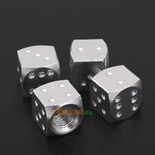 4Pcs Aluminum Dice Style Car Tire Wheel Tyre Caps Valve Stem Dust Covers Silver