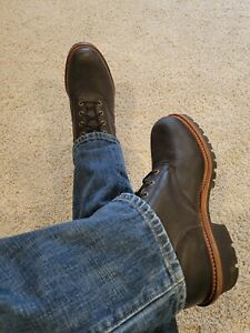 HOT Worn Black Leather Men's Chippewa Motorcycle Super Logger Lace Up Boots 11 E