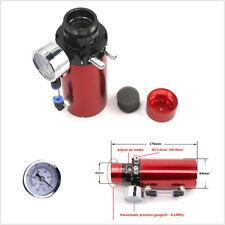 Red Aluminum Car Engine Oil Reservoir Catch Tank Filter & Vacuum Pressure Gauge