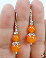 Pretty Handmade Smooth Natural Orange Jade Silver Leverback Earrings