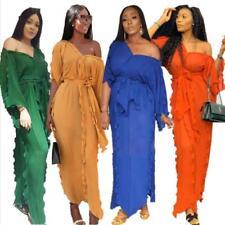 Women Ruffle Pleated Party Long Dress Bazin Sexy V Neck African Dashiki Clothing