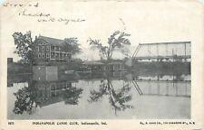Indianapolis Indiana~Canoe Club & Wagon Bridge Reflections PMC 1904 Cancel