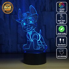 TRACKER PAW PATROL CHASE 3D Acrylic LED 7 Colour Night Light Touch Table Lamp