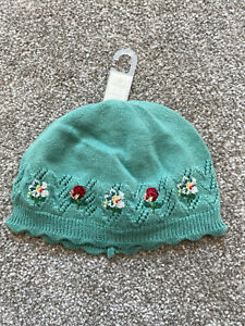 Knitted Floral Hat 0-3 Months Girls Next Green New With Tags