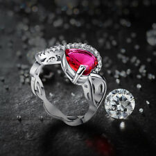 Fashion Romantic Heart Cut Ruby Spinel Gemstone 14K White Gold Plated Ring Sz 10