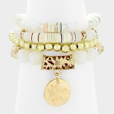 4 piece white love coin charm bead stretch bracelet cuff bangle