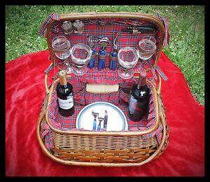 Picnic Basket Vintage Scottish Highlander Rattan Bamboo Red Tartan , Picnic Time