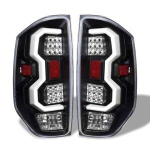 Fit 14-17 Toyota Tundra White Streak Led Tail Lights Black Housing / Clear Lens