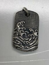 Men's Waves Tag Pendant 35mm Authentic David Yurman Sterling Silver