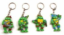 "1988 Star Toys FULL SET OF 4 VINTAGE SPANISH 2"" TMNT VINTAGE KEYCHAINS vintage!!"