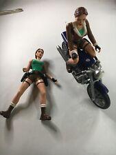 2 Vintage Tomb Raider Street Assault LARA CROFT Bike Figures Playmates 1999