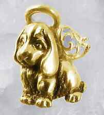 LOOK New Gold plated Guardian angel puppy dog Real Sterling Silver .925 Jewelry