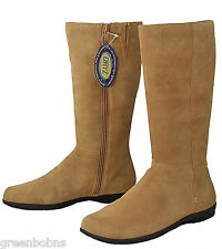 Dexter Manor Ladies Camel Brown Suede Kidskin Knee High Tall Boots  6.5 M