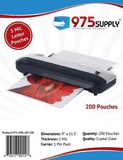 "975 Supply 5mil. Letter Thermal Laminating Pouches. 9"" x 11.5"" - 200 Pouches"